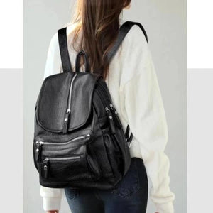 Leather fashion backpack with 2 separate compartment
