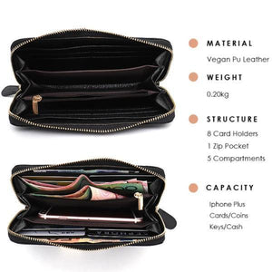 Multiple comportment black leather wallet