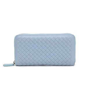 Sky blue leather wallets for women