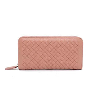 Rose pink leather wallets for women