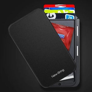 Black RFID flip card holder wallet