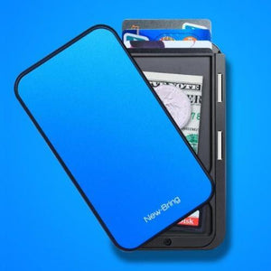 Blue RFID flip card holder wallet