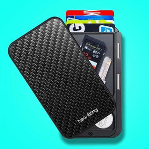Carbon RFID flip card holder wallet