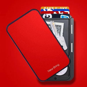 Red RFID flip card holder wallet
