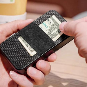 Carbon rfid Flip card holder