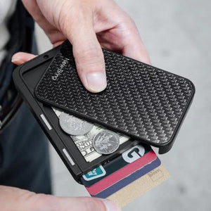 Carbon Flip Card Holder with coins