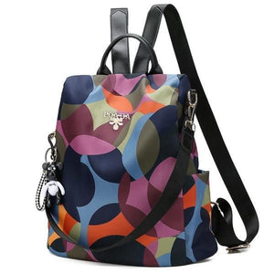 colorful backpack with shoulder strap