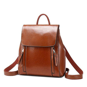 Light brown Crossbody leather backpack purse