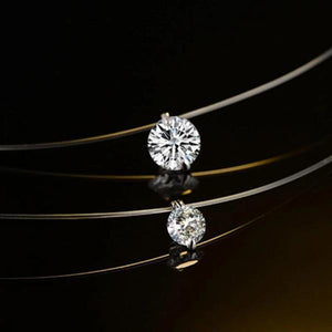 2 solitaire diamond pendant transparent necklace