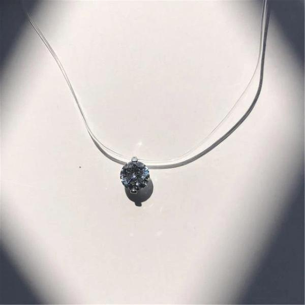 transparent necklace with Diamond Solitaire Pendant