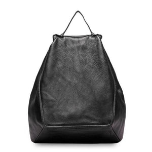 Black leather fashion backpack women