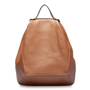 Brown leather fashion backpack women