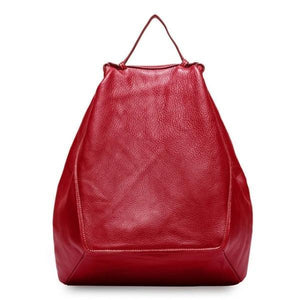 Red leather fashion backpack women