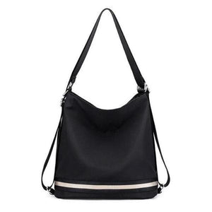 Black nylon convertible crossbody backpack travel bag