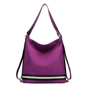 Purple nylon convertible crossbody backpack travel bag