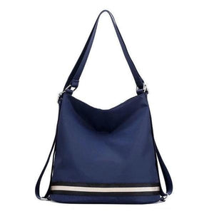 Blue nylon convertible crossbody backpack travel bag