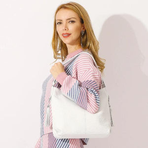 White leather large shoulder bag