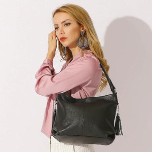 Black genuine leather large shoulder bag