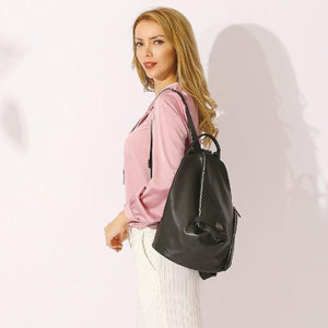 Black genuine leather backpack purse