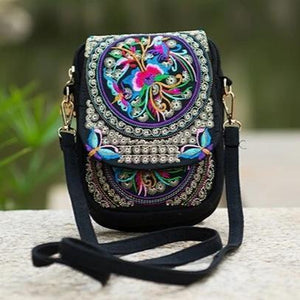 Multicolor flower ethnic small bag