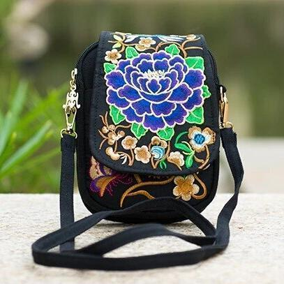 Dark blue ethnic embroidery small crossbody bag