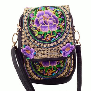 Purple flower ethnic small bag
