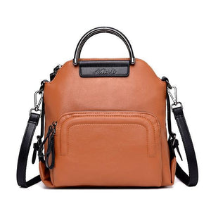 Brown leather convertible backpack crossbody