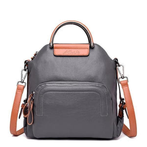 Gray leather convertible backpack crossbody