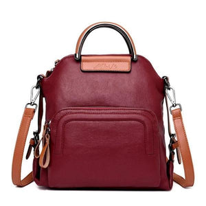 Red leather convertible backpack crossbody