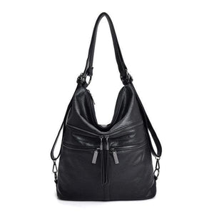 Black leather crossbody backpack bag