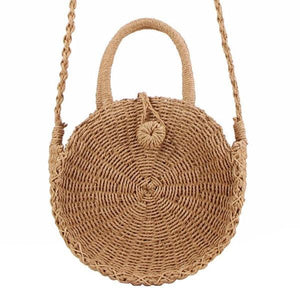 Round straw crossbody bag with handle