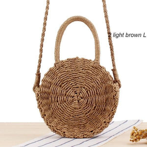 Brown straw bag for women