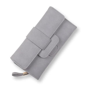 Gray leather trifold wallet womens