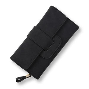 Black leather trifold wallet womens