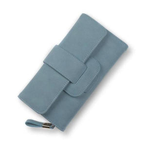 Blue leather trifold wallet womens