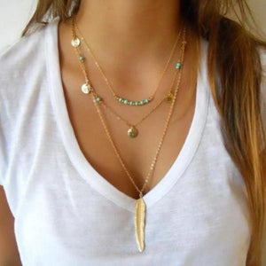 Feather necklace for women