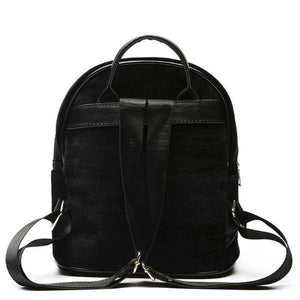Rear of Small velvet backpack