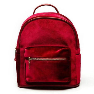 Red Small velvet backpack