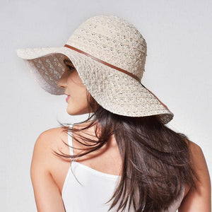 Beige women sun hat with leather band
