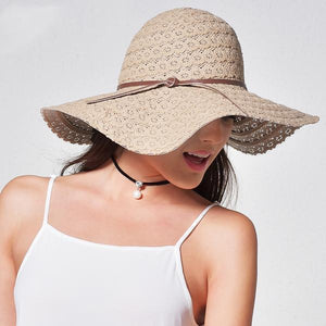 Khaki cute summer cotton hats for women with leather band