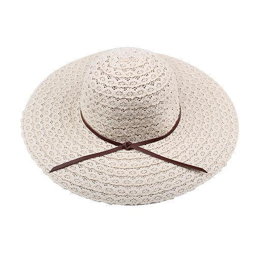Beige cute summer cotton hats for women with leather band