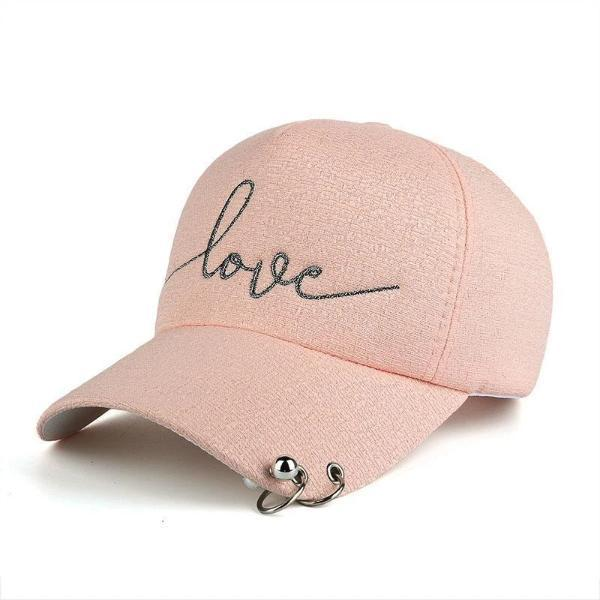 Pink women's fashion baseball caps with piercing