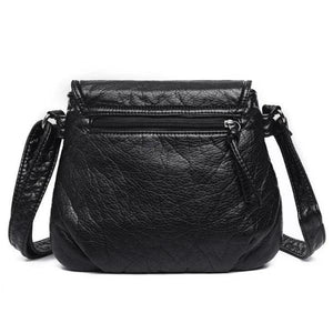 Rear zipper pocket black handbag