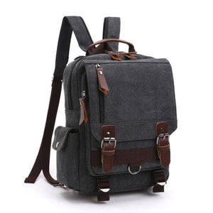 Black canvas backpack sling bag