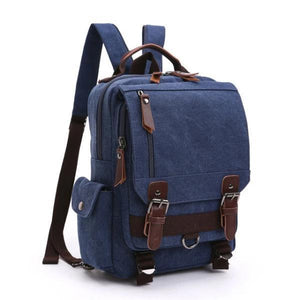 Blue canvas backpack sling bag
