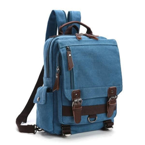 Sky blue canvas backpack sling bag