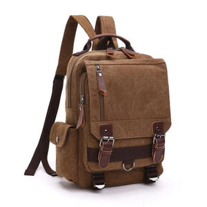 Brown canvas backpack sling bag