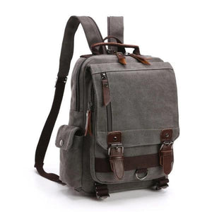 Gray canvas backpack sling bag