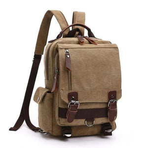 Khaki canvas backpack sling bag