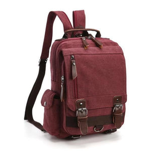 Burgundy canvas backpack sling bag